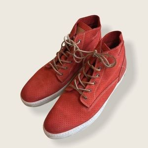 Blackstone Red Leather High Top Sneakers 48